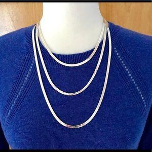 Jewelry - Set of 3 Reversible Herringbone Neckkaces